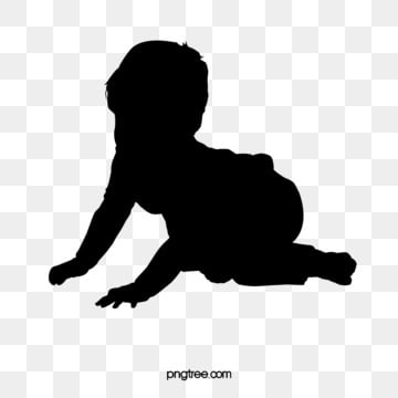 creeping baby silhouettes, Children, Silhouette, Lovely PNG and PSD